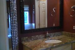 Custom framed mirror for Master Bath
