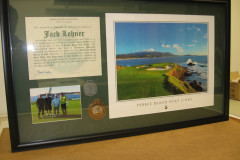 Framed Hole in One, the 7th at Pebble