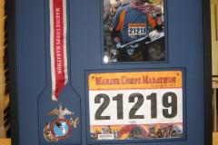 Custom framed shadowbox Marine Marathon